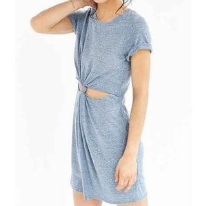Sleeved Blue Grey Heather Knot Cut Out Mini Dress